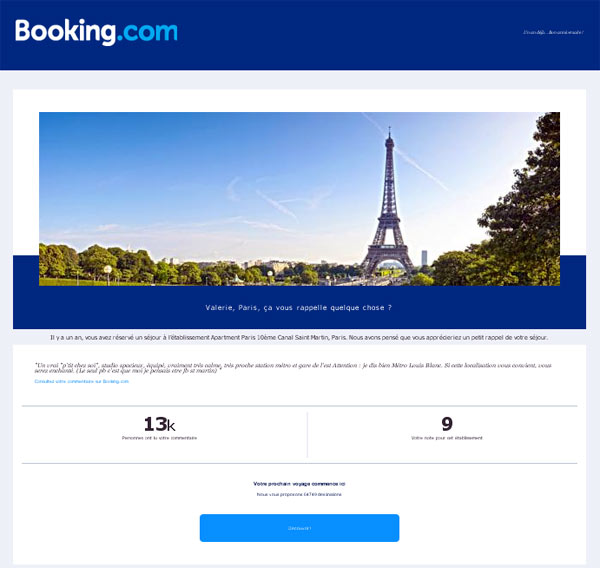 exemple emailing booking copie d'écran